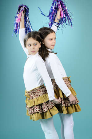 happy cheerleader children playing photo