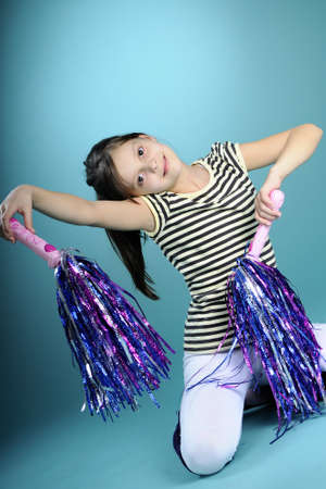 cheerleader girl exercising movements