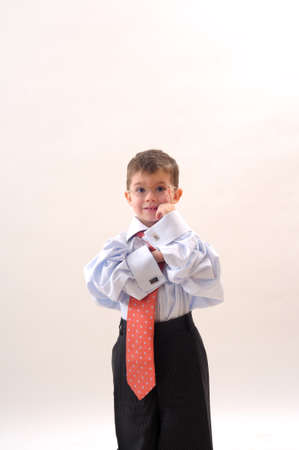 little business man studying photo