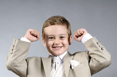 victorious: victorious child celebrating success Stock Photo