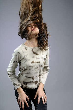 flying hair: girl flying hair Stock Photo