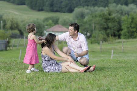 white family creating wreath Stock Photo - 10114284