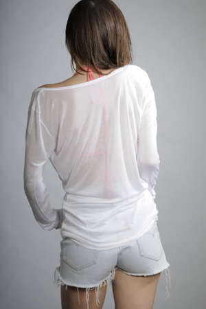 blouse sexy: back of sexy model