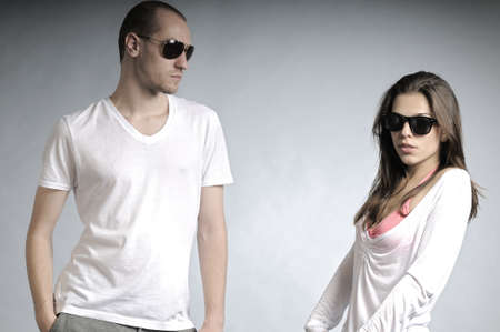 male hair model: white couple posingwith sunglasses