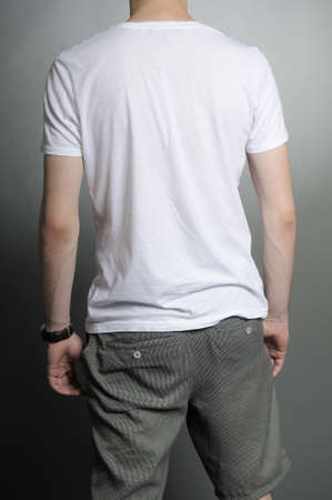 back of white young man