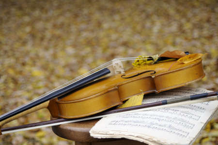 violin and musical sheet on chair Stock Photo - 11277864