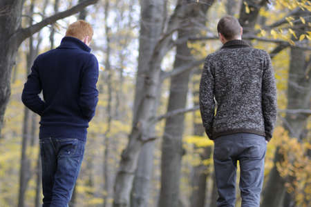 young people walking in forests Stock Photo