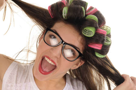 woman with curlers screaming and making crisis Stock Photo - 11916855