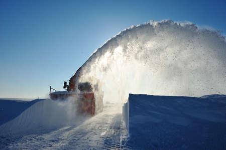snowplow working in winter season