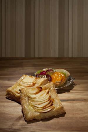 sliced apple: sliced apple on pastries