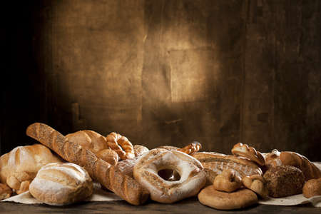 jewish cuisine: traditional bread on wood table Stock Photo