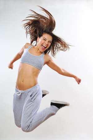 screaming female exercising in studio