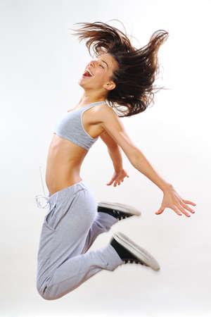 krachtige vrouw: krachtige vrouw te oefenen Stockfoto