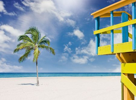 Tropical beach with lifeguard house and palm trees in Miami photo