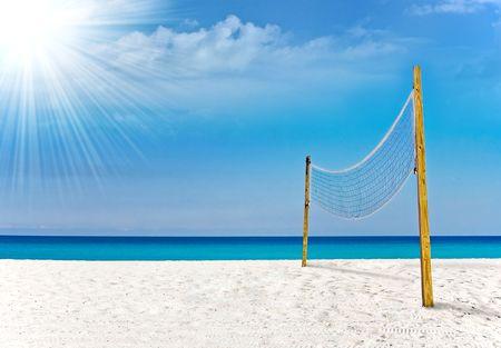 Terrain de volley-ball en paradis tropical de Miami  Banque d'images - 6195253
