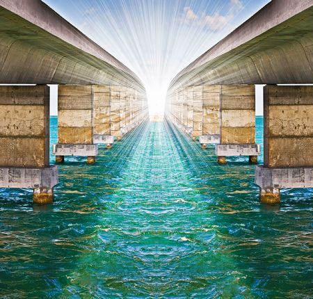 leading light: Metaphor concept of optimistic spirit with infinite bridges Stock Photo