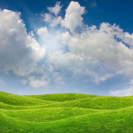 Beautiful natural landscape with green grass field and blue sky Stock Photo