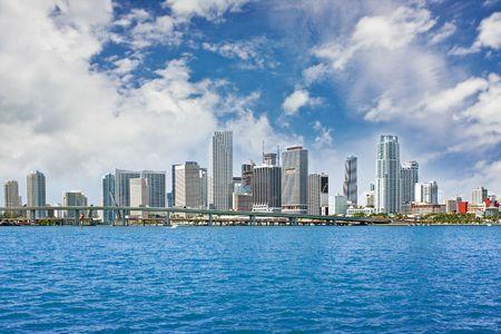 Colorful panorama of Miami Florida downtown buildings photo