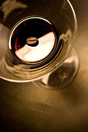 Coffe bean in alchocolic drink