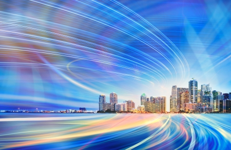 miami sunset: Abstract blue Illustration of an urban highway going to the modern city downtown Stock Photo