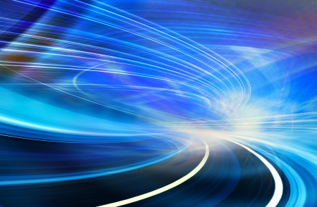 dividing line: Abstract speed motion in highway road tunnel Stock Photo