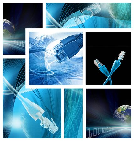 Abstract illustration for global communications network  Montage of few images Stock Photo