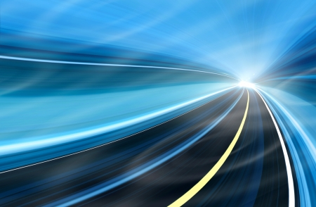 Abstract speed motion in highway road tunnel photo