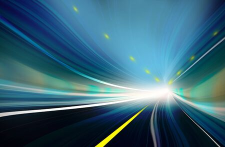 tunnel light: Abstract speed motion in highway road tunnel Stock Photo