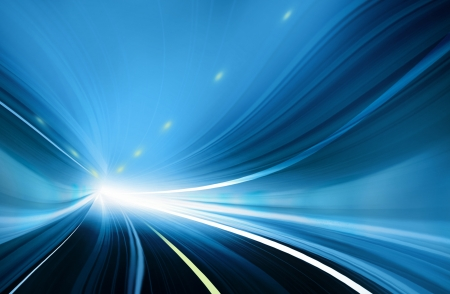 light speed: Abstract speed motion in blue highway road tunnel Stock Photo