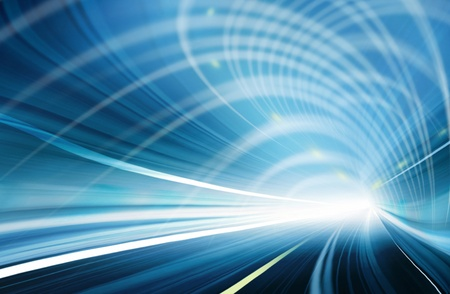 Abstract speed motion in blue highway road tunnel Stock Photo - 16429221