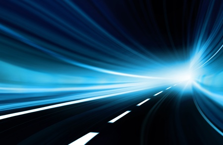 Abstract speed motion in blue highway road tunnel 写真素材