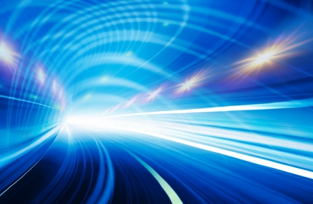 Abstract speed motion in blue highway road tunnel 스톡 콘텐츠