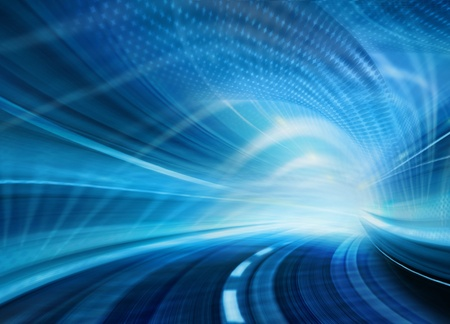 Abstract speed motion in blue highway road tunnel Stock Photo - 16429220
