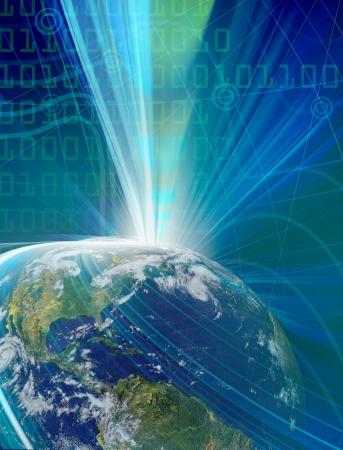 Résumé illustration bleu pour la technologie des communications mondiales Banque d'images - 16429268