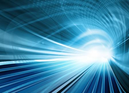 Abstract snelheid beweging in blauw snelweg weg tunnel Stockfoto