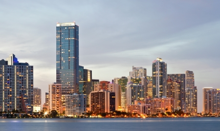 miami sunset: Miami Florida, cityscape of illuminated downtown buildings