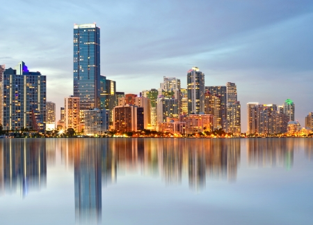 Miami Florida, cityscape of illuminated downtown buildings