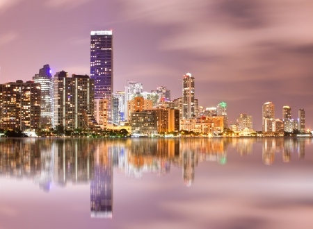 Miami Florida, cityscape of illuminated downtown buildings photo