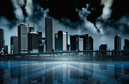 apocalyptic: Apocalyptic abstract illustration of a futuristic modern city