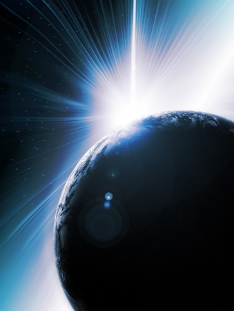 Abstract illustration of Solar eclipse behind planet earth seen from outer space