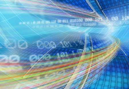 Abstract global technology background with globe panels and floating binary code in the blue network grid  Computer generated illustration