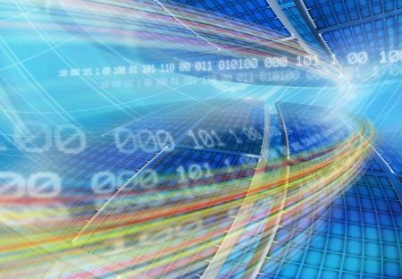 codigo binario: Resumen de antecedentes de tecnolog�a global con paneles de globo y el c�digo binario flotante de la red de ordenadores cuadr�cula azul ilustraci�n generada