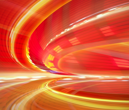 Abstract background, speed motion in urban highway road tunnel, blurred motion toward the light  Computer generated blue futuristic illustration  Stock Photo