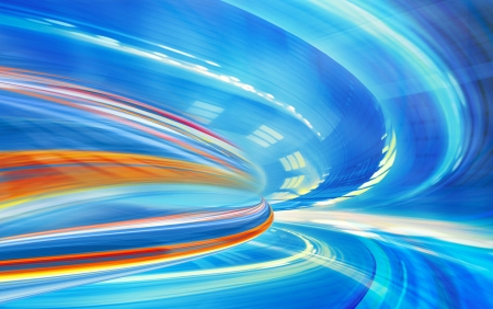 Abstract background, speed motion in urban highway road tunnel, blurred motion toward the light  Computer generated blue futuristic illustration  illustration
