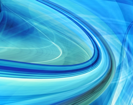 Abstract background, sAbstract technology background of blue curved shapes in dynamic motion. Computer generated illustration.peed motion in urban highway road tunnel, blurred motion toward the light. Computer generated blue futuristic illustration. Stock Photo