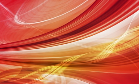 Abstract speed background of red and yellow curved shapes in dynamic motion. Computer generated illustration.