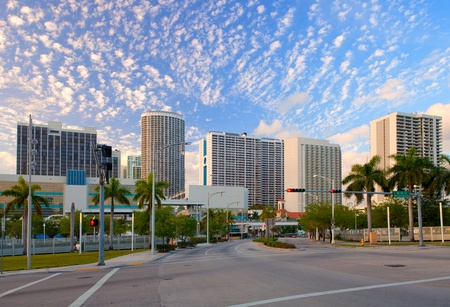 City of Miami Florida, colorful panorama of downtown business and residential buildings  Editorial