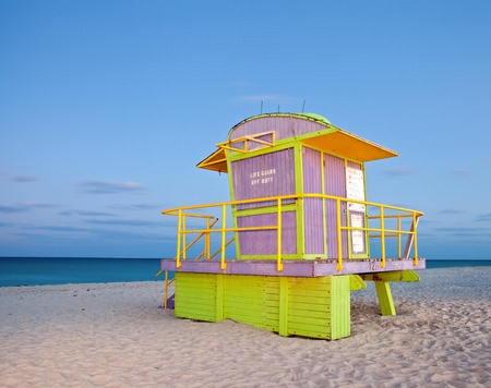 Miami Beach Florida, colorful lifeguard house, long night exposure under moonlight  photo