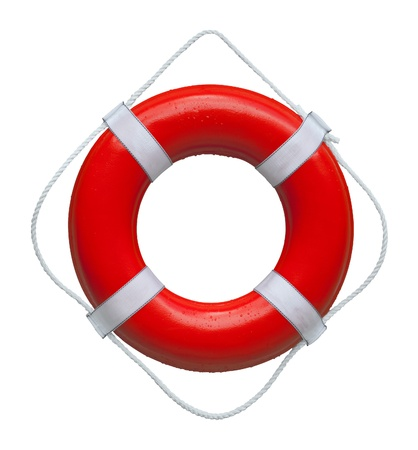 Red safety buoy ring isolated on white background
