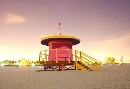 Miami Beach Florida, colorful lifeguard house, long exposure under moonlight